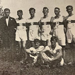 Die Leichtathletikriege 1933/34 | K. Thum, H. Wagner, O. Thum, J. Paul, L. Peters, H. Klingenberger | (vorn) Fr. Stolz, Fr. Zintel