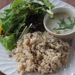 こだわりのランチ「大阪犬鳴ポークと野菜のグリーンカレー&玄米ごはん」