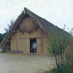 In solchen Häusern lebten die Menschen der Jungsteinzeit. So altertümlich diese erscheinen, hat sich doch an den eingesetzten Baumaterialien bis weit in die Neuzeit nichts geändert. Noch zu Beginn des 20. Jahrhunderts waren viele Häuser mit Stroh gedeckt.