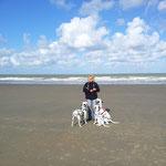 Am Strand von Bredene in Belgien mit Frauchen