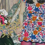 花柄のソファーと花のあるリビングで   アクリル・油彩・綿布・パネル 410×273 / At a living room with a floral design sofa and the flower   Acrylic,Oil,cotton and panel