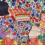 カモフラージュ  アクリル・綿布・パネル  410 x 273 mm / Camouflage   Acrylic,cotton and panel