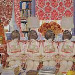花柄のカーテンのある書斎の   アクリル・油彩・綿布・パネル   727×606