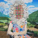 肖像画  アクリル・綿布・パネル  455 x 530mm / Portrait   Acrylic,cotton and panel