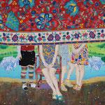 「家族  アクリル・綿布・パネル  910 x 727mm / Family   Acrylic,cotton and panel