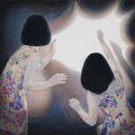 暗闇を照らせ  アクリル・綿布・パネル  333 x 333mm / Shine The Darkness   Acrylic,cotton and panel