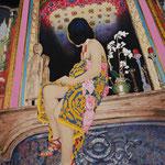 鏡の前の   アクリル・油彩・綿布・パネル   455×606