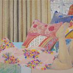 さまざまな柄のクッションと   アクリル・油彩・綿布・パネル 410×273 Acrylic,Oil,cotton and panel