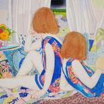 ピクニックをする  アクリル・綿布・パネル  410 x 273/Go on a Picnic, Acrylic,Oil,cotton and panel