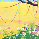 いつまでもパーティーを  アクリル・綿布・パネル  3880 x 1303mm / Have a Party Forever   Acrylic,cotton and panel