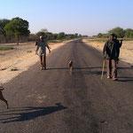 犬を連れて歩く男たち(グマレ町)