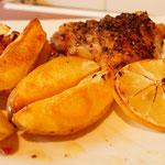 Kartoffelecken mit Zitronenhühnchen