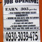Jobangebot: Tagesverdienst 6 Franken, höherer Schulabschluss erforderlich.