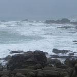 Der böige Wind peitscht das Meer.