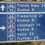 Die Radwege sind in Dänemark sehr gut ausgeschildert.