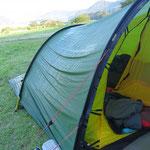 Warm-heisse Tage und kühle Nächte - das Zelt ist am Morgen innen und aussen nass.