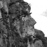 Das Inkagesicht in einer Felswand bei Ingapirca.
