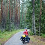 wir geniessen die Ruhe auf einsamen Waldwegen
