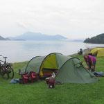 Zelten am Lake Montoudao.
