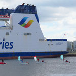 Segelnovizen im Hafen con Caen.