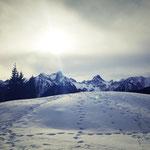 Am Ende einer Schneeschuhwanderung in Vorarlberg.