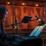 Keyboardist Aaron Davis part of the Measha Jazz trio.
