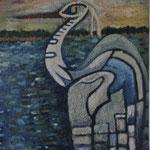 Título: garza    Técnica: óleo / tela      Medidas: 50 x 40 cm