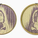 Título: en silencio     Técnica: Hilvanado   (Tela e hilo)      Medidas: 24  cm de diametro precio: $ 3,300.00