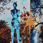 """Título: de la Serie Siluetas """"Mujer en Azul""""      Técnica: Fotografía intervenida, impresa sobre tela      Medidas: 20 x 20 cm"""