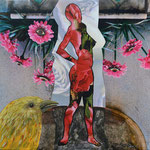 """Título: de la Serie Siluetas """"Mujer en Amarillo""""           Técnica: Fotografía intervenida, impresa sobre tela      Medidas: 20 x 20 cm"""