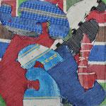 Titulo: Colores en movimiento.      Técnica: Recortes de tela textil.      Medidas: 20 x 20 cm