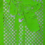 Título: calaveras y calaveritas I Medidas: 210 x 80 cm Técnica: Tela cortada