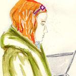 Frau in S-Bahn
