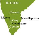 Reiseroute - Yogareise Südindien