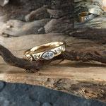 Umarbeitung aus zwei Ringen in Gelbgold und Weissgold