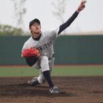 投手 川満(4年:宮古総合実業高校出身)