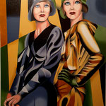 The Models - Olio su tela - cm 70x100