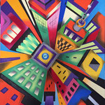Perspective of buildings - Olio su tela - cm 50x70