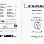 Programmheft Pokalendspiel 2001 - Vorder-und Rückseite