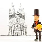 Barcelona - Vor der immer noch andauernden Baustelle der Sagrada Família