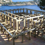 Vorbereitende Arbeiten für Terrasse mit Stufen und Jacuzzi
