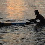 Das Ligurische Meer in der Abendsonne.
