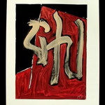 n.t.,  acrylic on paper, 59,5x37,5cm, signed 1987,     €350