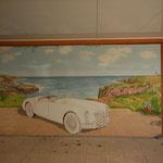 Illusion: Malerische optische Fortführung der realen Steinplatten;