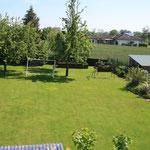 Der Garten mit Fußballtor und Schaukel