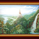 Landschaft mit goldener Burg