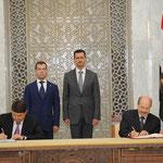 بحضور الرئيسين بشار الاسد وديمترى ميدفيديف التوقيع على اتفاقيتين للتعاون بين سورية وروسيا الاتحادية - 11.05.2010