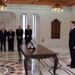 أمام السيد الرئيس بشار الأسد السيد صالح الراشد يؤدي اليمين الدستورية وزيرا للتربية - 16.04.2011