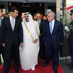 الرئيس سليمان في وداع الرئيس الأسد و خادم الحرمين الشريفين في المطار - 30.07.2010
