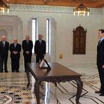 أمام السيد الرئيس بشار الأسد الدكتور رضوان الحبيب يؤدي اليمين الدستورية وزيرا للشؤون الاجتماعية والعمل - 16.04.2011